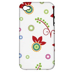 Colorful Floral Wallpaper Background Pattern Apple Iphone 4/4s Hardshell Case (pc+silicone) by Amaryn4rt