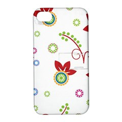 Colorful Floral Wallpaper Background Pattern Apple Iphone 4/4s Hardshell Case With Stand by Amaryn4rt