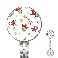 Colorful Floral Wallpaper Background Pattern Stainless Steel Nurses Watch by Amaryn4rt