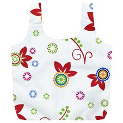 Colorful Floral Wallpaper Background Pattern Full Print Recycle Bags (l)