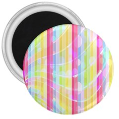 Colorful Abstract Stripes Circles And Waves Wallpaper Background 3  Magnets by Amaryn4rt