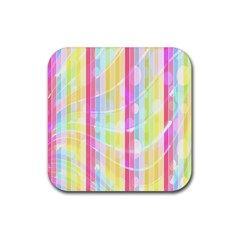 Colorful Abstract Stripes Circles And Waves Wallpaper Background Rubber Square Coaster (4 Pack)  by Amaryn4rt