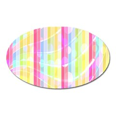 Colorful Abstract Stripes Circles And Waves Wallpaper Background Oval Magnet by Amaryn4rt