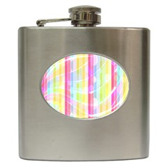 Colorful Abstract Stripes Circles And Waves Wallpaper Background Hip Flask (6 Oz) by Amaryn4rt