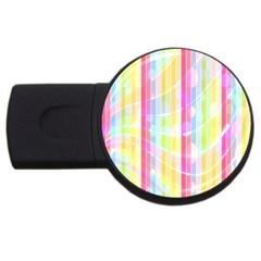 Colorful Abstract Stripes Circles And Waves Wallpaper Background Usb Flash Drive Round (2 Gb) by Amaryn4rt