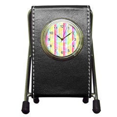 Colorful Abstract Stripes Circles And Waves Wallpaper Background Pen Holder Desk Clocks by Amaryn4rt