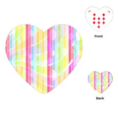 Colorful Abstract Stripes Circles And Waves Wallpaper Background Playing Cards (heart)  by Amaryn4rt