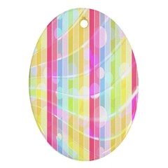 Colorful Abstract Stripes Circles And Waves Wallpaper Background Oval Ornament (two Sides) by Amaryn4rt