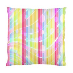Colorful Abstract Stripes Circles And Waves Wallpaper Background Standard Cushion Case (two Sides) by Amaryn4rt