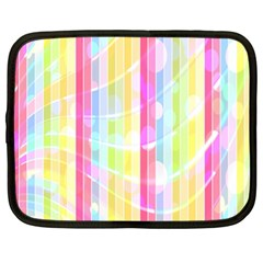 Colorful Abstract Stripes Circles And Waves Wallpaper Background Netbook Case (xl)  by Amaryn4rt