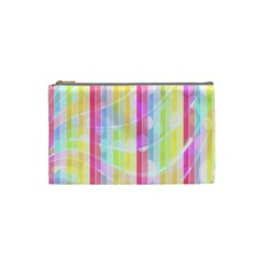 Colorful Abstract Stripes Circles And Waves Wallpaper Background Cosmetic Bag (small)  by Amaryn4rt