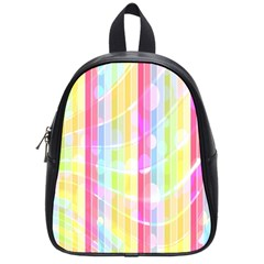 Colorful Abstract Stripes Circles And Waves Wallpaper Background School Bags (small)  by Amaryn4rt