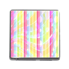 Colorful Abstract Stripes Circles And Waves Wallpaper Background Memory Card Reader (square) by Amaryn4rt