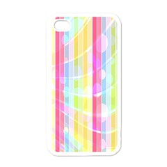 Colorful Abstract Stripes Circles And Waves Wallpaper Background Apple Iphone 4 Case (white) by Amaryn4rt