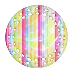 Colorful Abstract Stripes Circles And Waves Wallpaper Background Ornament (round Filigree) by Amaryn4rt
