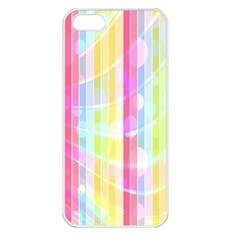 Colorful Abstract Stripes Circles And Waves Wallpaper Background Apple Iphone 5 Seamless Case (white) by Amaryn4rt