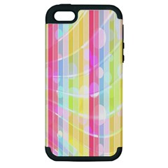 Colorful Abstract Stripes Circles And Waves Wallpaper Background Apple Iphone 5 Hardshell Case (pc+silicone) by Amaryn4rt