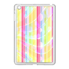 Colorful Abstract Stripes Circles And Waves Wallpaper Background Apple Ipad Mini Case (white) by Amaryn4rt