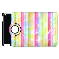 Colorful Abstract Stripes Circles And Waves Wallpaper Background Apple Ipad 2 Flip 360 Case by Amaryn4rt