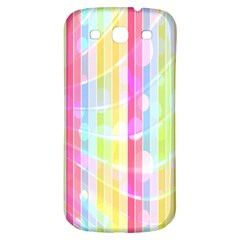 Colorful Abstract Stripes Circles And Waves Wallpaper Background Samsung Galaxy S3 S Iii Classic Hardshell Back Case by Amaryn4rt