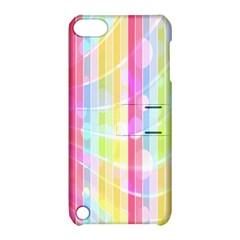 Colorful Abstract Stripes Circles And Waves Wallpaper Background Apple Ipod Touch 5 Hardshell Case With Stand by Amaryn4rt