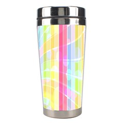 Colorful Abstract Stripes Circles And Waves Wallpaper Background Stainless Steel Travel Tumblers by Amaryn4rt