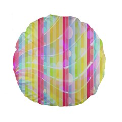 Colorful Abstract Stripes Circles And Waves Wallpaper Background Standard 15  Premium Flano Round Cushions by Amaryn4rt