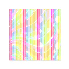 Colorful Abstract Stripes Circles And Waves Wallpaper Background Small Satin Scarf (square) by Amaryn4rt