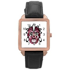 Mask Rose Gold Leather Watch  by Valentinaart