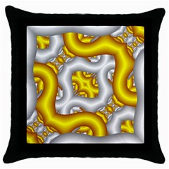 Fractal Background With Golden And Silver Pipes Throw Pillow Case (black) by Amaryn4rt