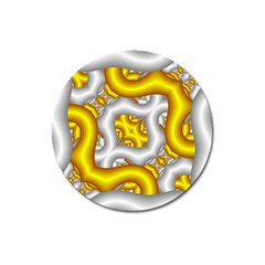 Fractal Background With Golden And Silver Pipes Magnet 3  (round) by Amaryn4rt