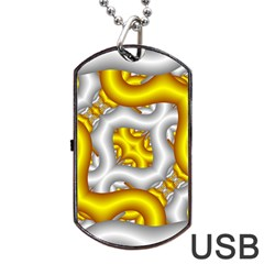 Fractal Background With Golden And Silver Pipes Dog Tag Usb Flash (one Side) by Amaryn4rt
