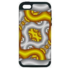 Fractal Background With Golden And Silver Pipes Apple Iphone 5 Hardshell Case (pc+silicone) by Amaryn4rt