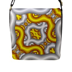 Fractal Background With Golden And Silver Pipes Flap Messenger Bag (l)  by Amaryn4rt