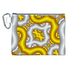 Fractal Background With Golden And Silver Pipes Canvas Cosmetic Bag (xxl) by Amaryn4rt