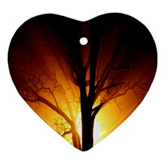 Rays Of Light Tree In Fog At Night Ornament (heart) by Amaryn4rt