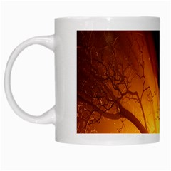 Rays Of Light Tree In Fog At Night White Mugs by Amaryn4rt