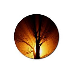 Rays Of Light Tree In Fog At Night Rubber Coaster (round)  by Amaryn4rt