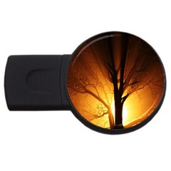Rays Of Light Tree In Fog At Night Usb Flash Drive Round (2 Gb) by Amaryn4rt