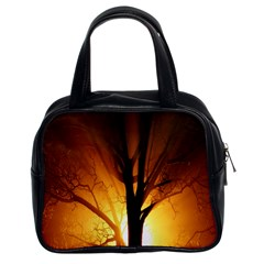 Rays Of Light Tree In Fog At Night Classic Handbags (2 Sides) by Amaryn4rt