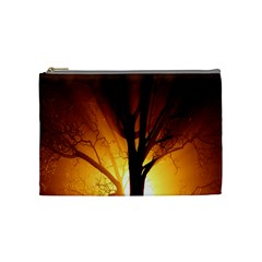 Rays Of Light Tree In Fog At Night Cosmetic Bag (medium)  by Amaryn4rt