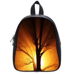 Rays Of Light Tree In Fog At Night School Bags (small)  by Amaryn4rt