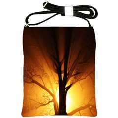 Rays Of Light Tree In Fog At Night Shoulder Sling Bags by Amaryn4rt