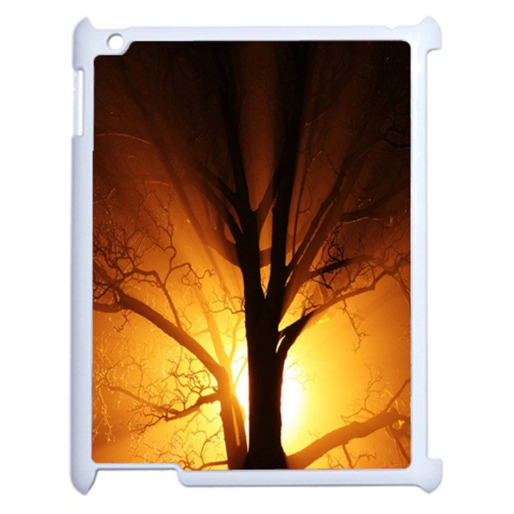 Rays Of Light Tree In Fog At Night Apple iPad 2 Case (White)