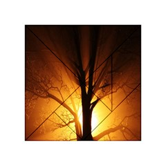Rays Of Light Tree In Fog At Night Acrylic Tangram Puzzle (4  X 4 ) by Amaryn4rt
