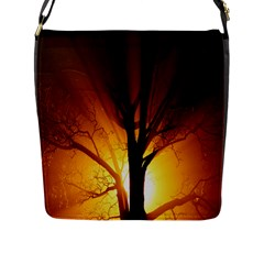 Rays Of Light Tree In Fog At Night Flap Messenger Bag (l)  by Amaryn4rt