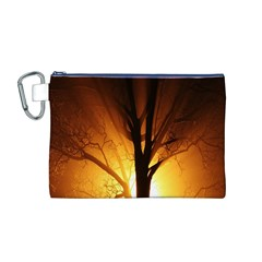 Rays Of Light Tree In Fog At Night Canvas Cosmetic Bag (M)