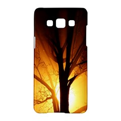 Rays Of Light Tree In Fog At Night Samsung Galaxy A5 Hardshell Case  by Amaryn4rt
