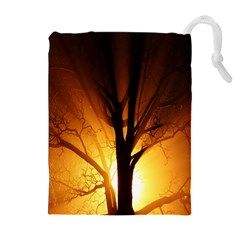 Rays Of Light Tree In Fog At Night Drawstring Pouches (extra Large) by Amaryn4rt