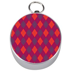 Plaid Pattern Silver Compasses by Valentinaart